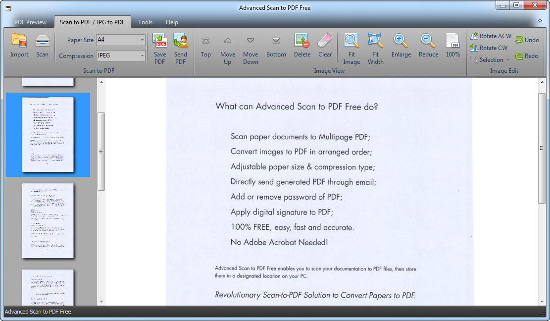 advanced scan to pdf free windows 10
